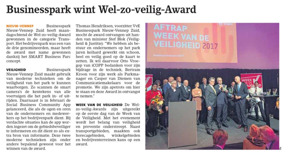 Businesspark Nieuw-Vennep Zuid in het Witte Weekblad 12-10-17