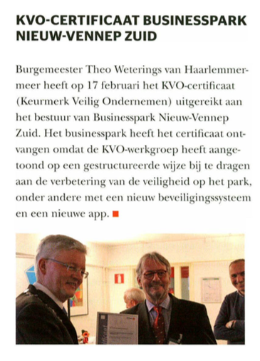 Businesspark Nieuw-Vennep Zuid in Security Management 30-04-17