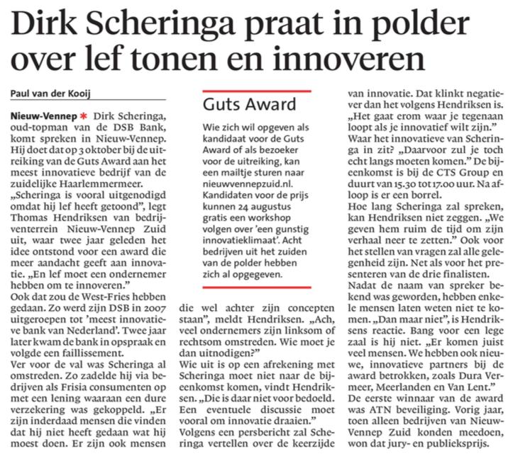 Businesspark Nieuw-Vennep Zuid in Haarlems Dagblad 09-08-17