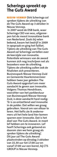 Businesspark Nieuw-Vennep Zuid in Witte Weekblad 17-08-17