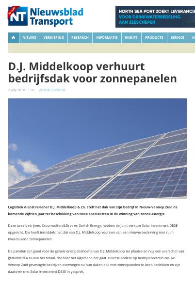 Nieuwsblad Transport zonnepanelen D.J. Middelkoop & Zn.