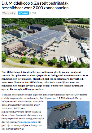 Logistiek.nl zonnepanelen D.J. Middelkoop & Zn.