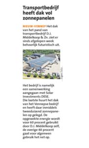 HCnieuws en Witte Weekblad zonnepanelen D.J. Middelkoop & Zn.